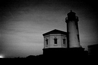 Coquille Lighthouse at Night, B&W