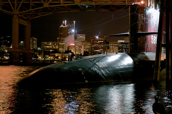 USS Blueback at Night